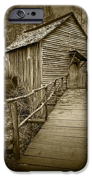 Grist Mill iPhone Cases - Sepia Toned John Cable Gristmill in Cades Cove iPhone Case by Randall Nyhof