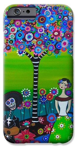 Flower Of Life iPhone Cases - Serenata mi Senora Frida iPhone Case by Pristine Cartera Turkus