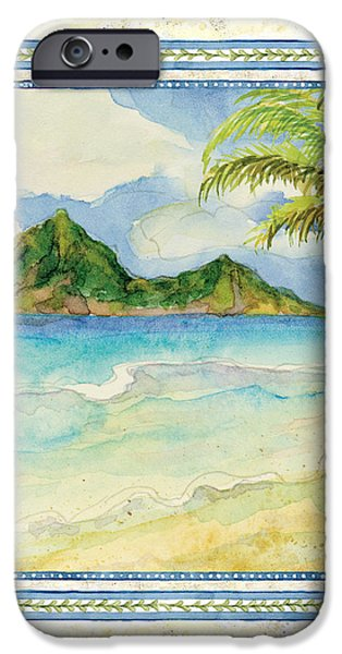 Summer iPhone Cases - Serene Shores - Tropical Island Beach Palm Paradise iPhone Case by Audrey Jeanne Roberts
