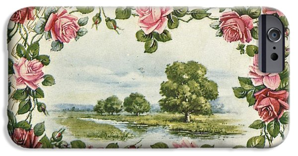 Floral Photographs iPhone Cases - Serene Waterside Landscape In Rose iPhone Case by Gillham Studios