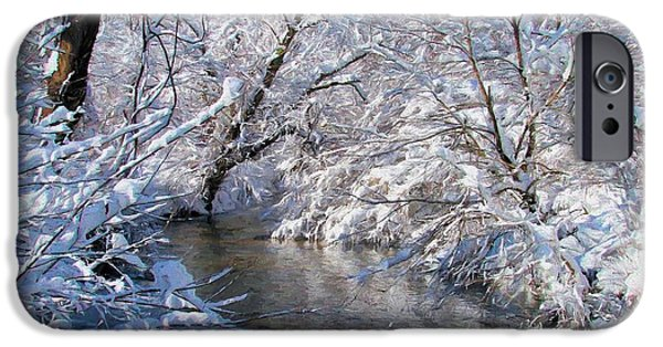 Snowy Stream iPhone Cases - Serenity iPhone Case by JC Findley