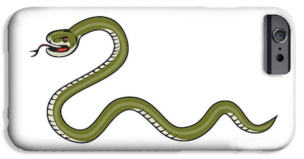 Serpent iPhone Cases - Serpent Coiling Side Isolated Cartoon iPhone Case by Aloysius Patrimonio