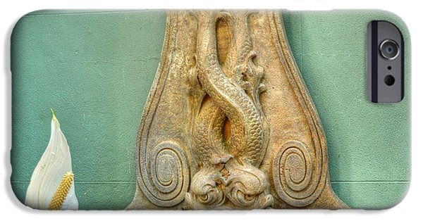 Serpent iPhone Cases - Serpent fountain iPhone Case by Linda Covino