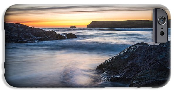 Sun Flare iPhone Cases - Setting Sun At Polzeath iPhone Case by Amanda And Christopher Elwell