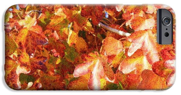 Seurat iPhone Cases - Seurat-Like Fall Leaves iPhone Case by Carol Groenen