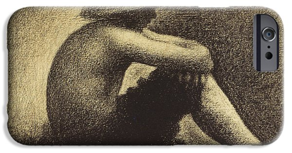 Seurat iPhone Cases - Seurat: Seated Boy, 1883-4 iPhone Case by Granger