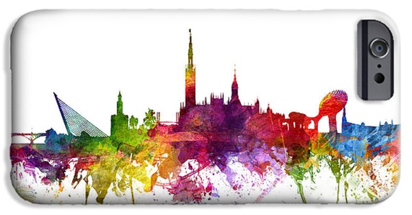 Colour Drawings iPhone Cases - Seville Spain Cityscape 06 iPhone Case by Aged Pixel