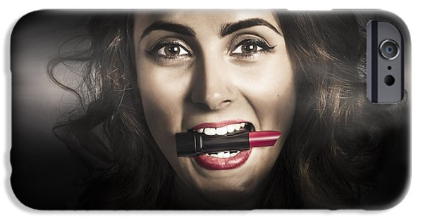 Model iPhone Cases - Sexy lips pin-up beauty iPhone Case by Ryan Jorgensen