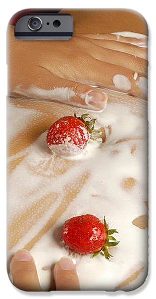Sexy Nude Woman Body Covered with Cream and Strawberries iPhone Case by Oleksiy Maksymenko