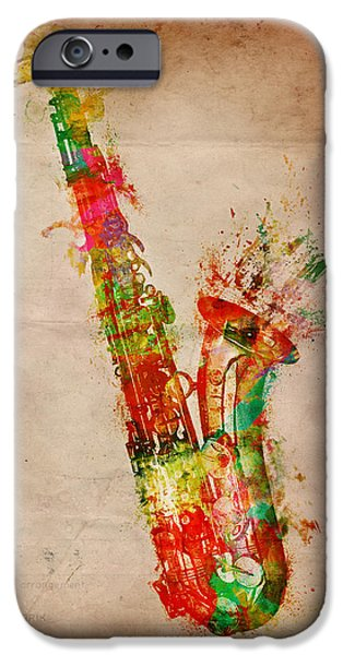 Jam Digital iPhone Cases - Sexy Saxaphone iPhone Case by Nikki Smith