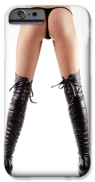 Provocative Photographs iPhone Cases - Sexy woman legs in thigh-high stiletto boots iPhone Case by Oleksiy Maksymenko