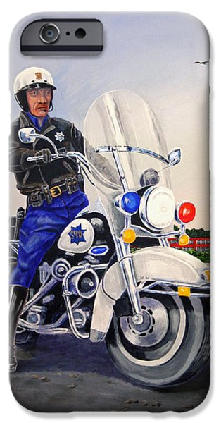 Police Officer Paintings iPhone Cases - SFPD Solo iPhone Case by Robert Link