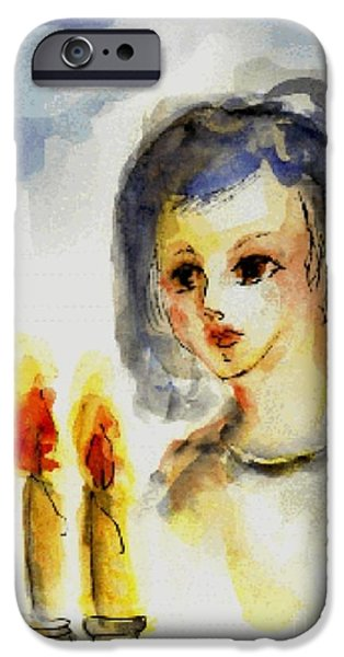 Young Paintings iPhone Cases - Shabbat Candles iPhone Case by Jan Statman