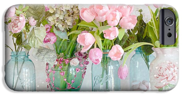 Romantic Art iPhone Cases - Shabby Chic Cottage Ball Jars and Tulips Floral Photography - Mason Ball Jars Floral Photography iPhone Case by Kathy Fornal