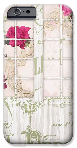 French Doors iPhone Cases - Shabby Cottage French Doors iPhone Case by Mindy Sommers