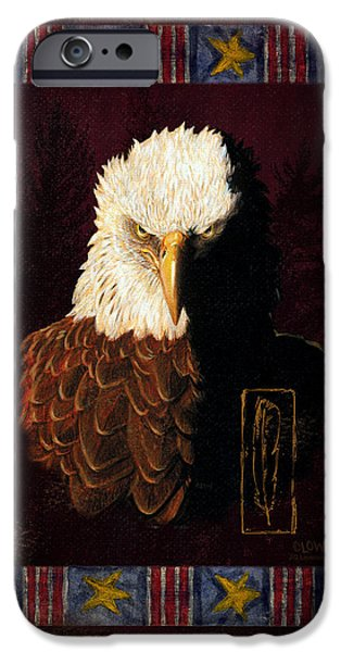 Flag Paintings iPhone Cases - Shadow Eagle iPhone Case by JQ Licensing