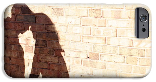 Relationship iPhone Cases - Shadow On Brick Wall Of Couple iPhone Case by Gillham Studios