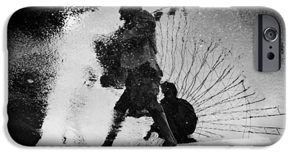 Monotone Pyrography iPhone Cases - Shadow Walking.  iPhone Case by Cyril Jayant