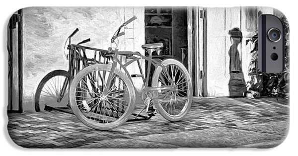 Figure iPhone Cases - Shadows and Bike - Black and White iPhone Case by Nikolyn McDonald