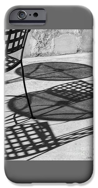 Patio Table And Chairs iPhone Cases - Shadows Of Outdoor Cafe iPhone Case by Imagery by Charly