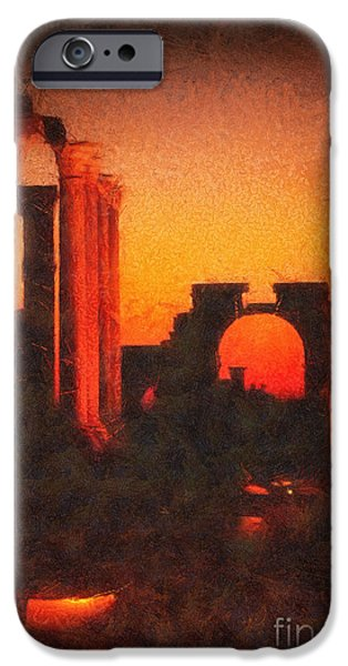 Ruin Mixed Media iPhone Cases - Shadows of Palmyra iPhone Case by Mo T