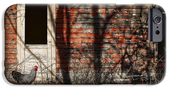 Eerie iPhone Cases - Shadows - Old Farmhouse - Hen iPhone Case by Nikolyn McDonald