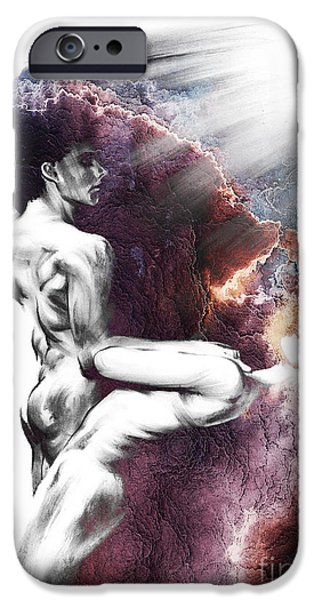 Figure iPhone Cases - Shadowtwister Formation conte drawing - textured  iPhone Case by Paul Davenport