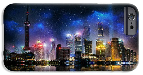 Modern Abstract iPhone Cases - Shanghai Skyline iPhone Case by Ian Mitchell