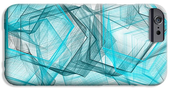 Blue Abstracts iPhone Cases - Shapes Galore iPhone Case by Lourry Legarde