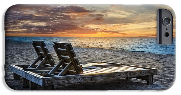 Adirondack Chairs On The Beach iPhone Cases - Share the Moment iPhone Case by Debra and Dave Vanderlaan