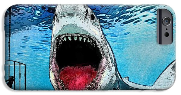 Shark Drawings iPhone Cases - Shark food iPhone Case by Jeff Karnick