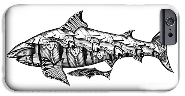 Shark Drawings iPhone Cases - Shark Tank iPhone Case by Michael Miller