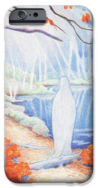 Mist Drawings iPhone Cases - She Is Still iPhone Case by Amy S Turner