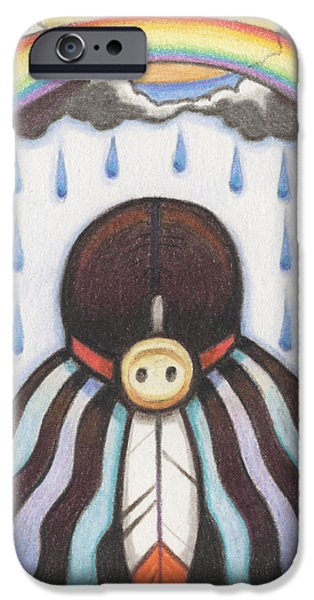 Rain Drawings iPhone Cases - She Who Brings The Rain iPhone Case by Amy S Turner