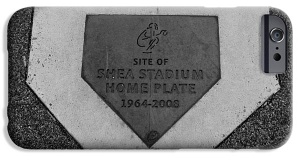 Shea Stadium iPhone Cases - SHEA STADIUM HOME PLATE in BLACK AND WHITE iPhone Case by Rob Hans
