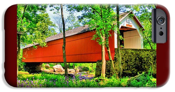 Covered Bridge iPhone Cases - Sheards Mill Covered Bridge iPhone Case by DJ Florek