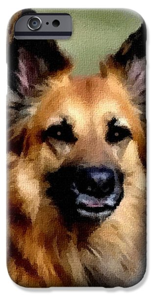 Abstract Digital Paintings iPhone Cases - Sheba - Loving Dog Creations Catus 1 no. 1 V B -  CI2 iPhone Case by Gert J Rheeders