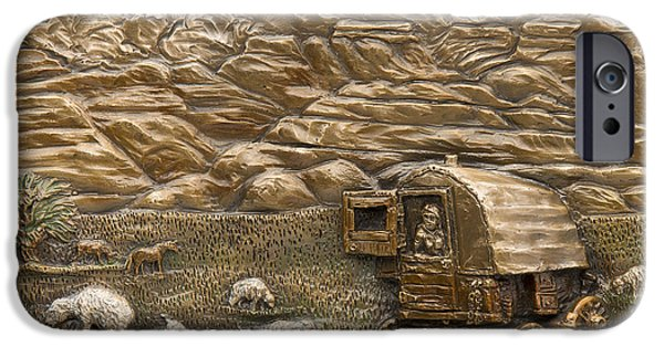Dog Reliefs iPhone Cases - Sheep Herders Wagon iPhone Case by Dawn Senior-Trask