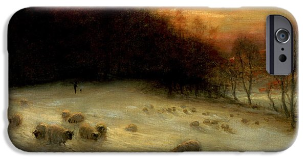 Farm Fields Paintings iPhone Cases - Sheep in a Winter Landscape Evening iPhone Case by Joseph Farquharson