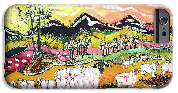 Farm Tapestries - Textiles iPhone Cases - Sheep on Sunny Summer Day iPhone Case by Carol Law Conklin