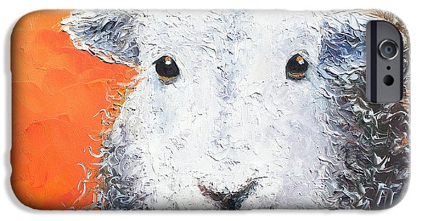 Art For Childrens Room iPhone Cases - Sheep painting on orange background iPhone Case by Jan Matson