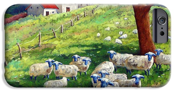 Canadiens Paintings iPhone Cases - Sheeps in a field iPhone Case by Richard T Pranke