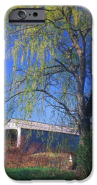 Covered Bridge iPhone Cases - Sheffield Upper Covered Bridge iPhone Case by John Burk