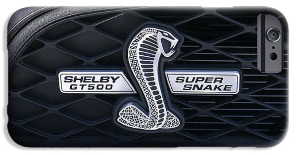 Carroll Shelby iPhone Cases - SHELBY GT 500 Super Snake iPhone Case by Mike McGlothlen