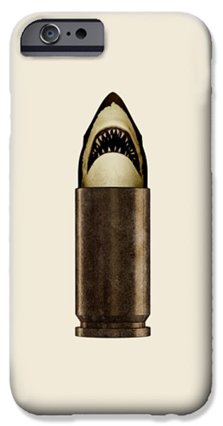 Animals Mixed Media iPhone Cases - Shell Shark iPhone Case by Nicholas Ely