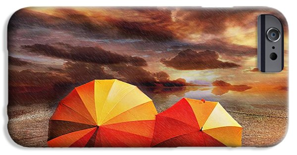 Umbrellas Digital Art iPhone Cases - Shelter iPhone Case by Photodream Art