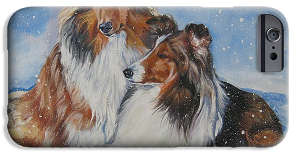 Sheltie iPhone Cases - Sheltie pair iPhone Case by Lee Ann Shepard
