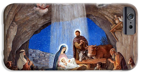 Church Drawings iPhone Cases - Shepherds Field Nativity Painting iPhone Case by Munir Alawi