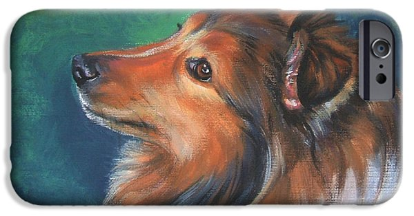 Sheltie iPhone Cases - Shetland Sheepdog and butterfly iPhone Case by Lee Ann Shepard