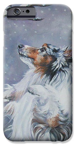 Sheltie iPhone Cases - Shetland Sheepdog with chickadee iPhone Case by Lee Ann Shepard
